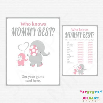 Pink Elephant Baby Shower, Who Knows Mommy Best, Pink and Gray Baby Shower Games Girl, Printable Baby Shower, Instant Download, EL0005-LP