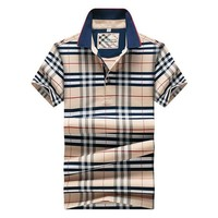 2016 Brand Clothing Europe style Polo Shirt High quality Plaid Casual Polo Homme For M