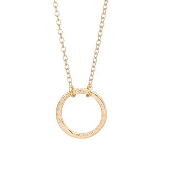 Brushed Forever Circle Pendant Necklaces For Women