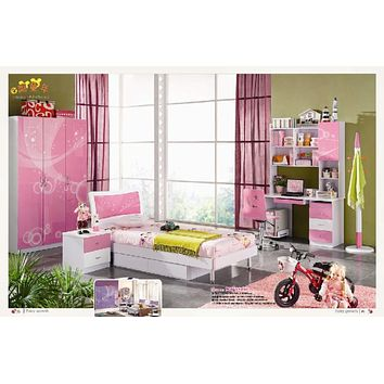5 Pcs Loft Bed Set Kids Table And Chair Wood Kindergarten Furniture - Pink Theme