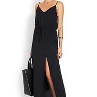 Lace-Trimmed Maxi Slip Dress
