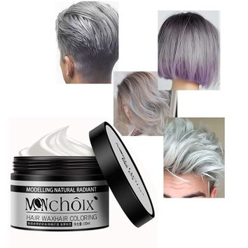 Instant Hair Colour Pomades Waxes Gray Silver Ash Wax Hair Color Wax Mud Disposable Modeling Dye Cream Washable