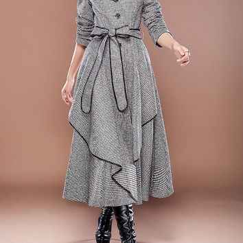 Gray  wool women coat women dress coat Apring Autumn Winter --CO089