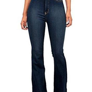 Vibrant Women's Juniors Bell Bottom High Waist Fitted Denim Jeans
