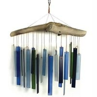 Blue Handworks Beach Glass and Driftwood Wind Chime
