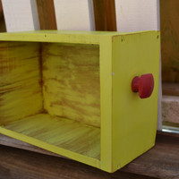 Upcycled Vintage Drawer lime green with red knob bright housewares office decor bedroom decor