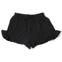 Ruffle Trim Shorts - Black
