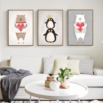 Cute Cartoon Animals Bear Hippo Penguins A4 Print Painting Poster Kids Bedroom Wall Picture for Home No Frame Home Decor