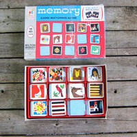 20% OFF SALE Vintage 1960s Memory Card matching game / Milton Bradley / Complete