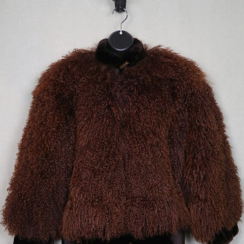 Yves Saint Laurent mongolian lamb coat, tibetan lamb jacket, toggle closures, YSL, brown, french couture, designer