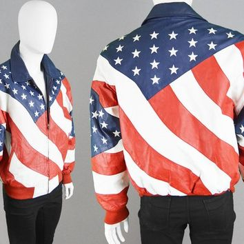 Vintage MICHAEL HOBAN 80s Leather Jacket Men Bomber Jacket Stars and Stripes Red White & Blue Independence Day USA Flag Jacket Biker Jacket