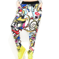 Print Pants Women Harem Pants Ladies Streetwear Drop Crotch 2016 European Fashion Hiphop Pants Free Shipping