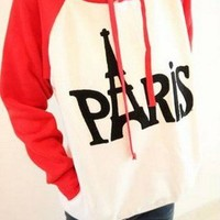 Red Paris Tower Letter Sweater