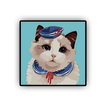 Sailor Kitty DIY Kids Paint By Numbers Kit: Includes Acrylic Paints, Brushes and Canvas with Frame Option