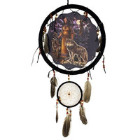 Wolf and Indian Girl Dream Catcher 13 inch with Feathers