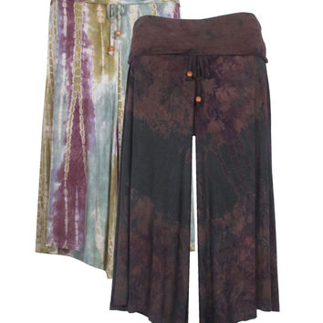 Tie Dye Gaucho Pants.  Available in 2 Design Colors and Styles. M, L, XL.