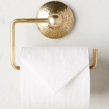 Hammered Brass Toilet Paper Holder