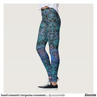 laced romantic turquoise ornament arabesque leggings