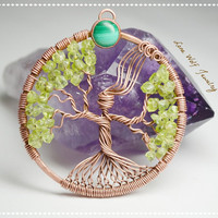 Goddess Tree of Life Peridot Tree of Life Pendant Bare Copper Bezel Set Malachite Mother Nature Necklace Copper Wire Wrapped Metaphysical