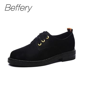 Beffery 2018 Spring Suede Leather Oxford Shoes Women Flats Round Toe Casual Shoes Vintage British Style Flats Shoes For Women