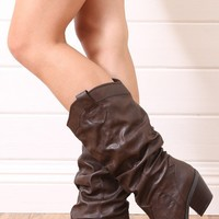 Qupid Muse01 Brown Ruched Western Knee High Boots shop Boots at MakeMeChic.com