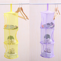 1PC 3 Layers Folding Storage Hanging Laundry Basket Multi Color Mesh Clothes Storage Cage Toy Storage Bag