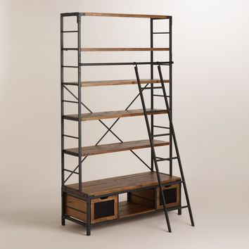 Wood and Metal Bookcase with Ladder