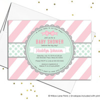 Girl baby shower invitations pink mint baby shower invite, little lady baby shower invitation, pink baby shower invite girls - WLP00728