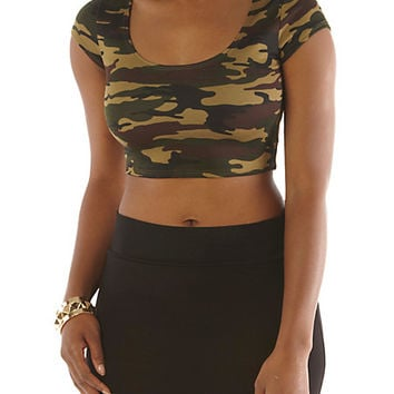 Camo Spike-Shoulder Crop Top - Rainbow
