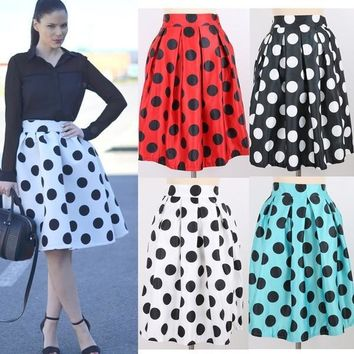 Fashion Polka Dots Pleated Skirts High Waist Skirts For Women One Size = 5660117953