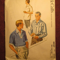 SALE Complete 1950's McCall's Sewing Pattern, 4427! Size Medium/Men's Sports Shirts/Collared Shirts/Pullover Shirts/One Pocket Shirt/Retro T