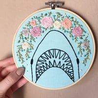 Shark hand embroidery with floral deatils, embroidered on light blue fabric, 6 inch hoop