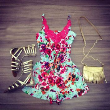 Lace Flower Printed Romper