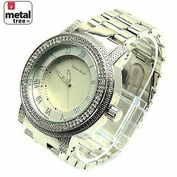 Jewelry Kay style Men's Hip Hop Rapper DJ Fashion Stainless Steel Metal Heavy Band Watches 1251 S