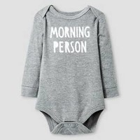 Baby Long-Sleeve Morning Person Bodysuit Baby Cat & Jack™ - Grey 24M : Target