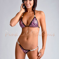 Ride The Wind Pink Leopard Hologram Competition Bikini Swimsuit In Pink Leopard