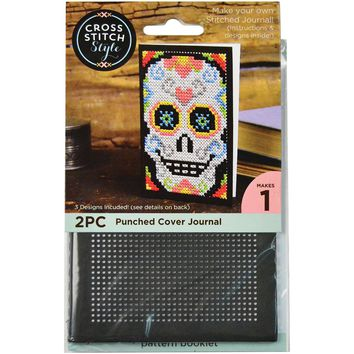 Journal Cover Punched For Cross Stitch-Black