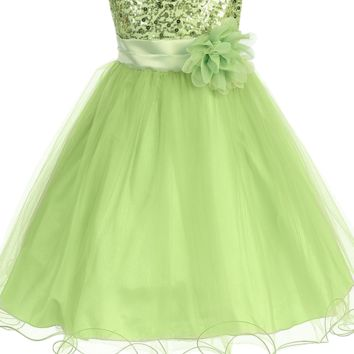 Green Sequin Party Dress with Lettuce Hem Tulle Skirt Baby Girls 3M-24M