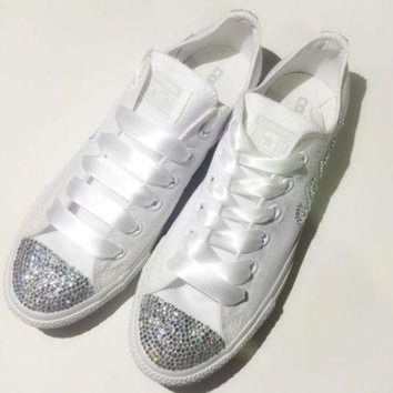CREYONB Monochrome All White Bride Rhinestone Converse Custom Shoes Confirmation Prom Bat Mitz