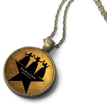 Schuyler Sisters, Hamilton Musical Necklace, Lin Manuel Miranda, Playbill Poster Jewelry, Musical Theater Gift, Feminist Necklace