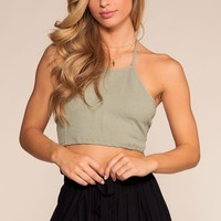 Bring It Back Halter Crop Top - Sage