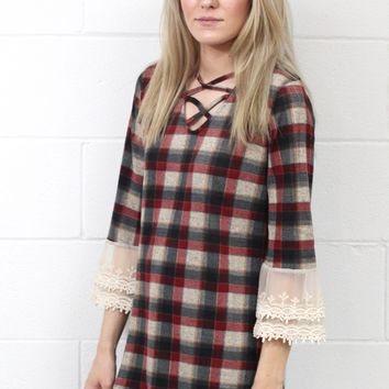 Strappy Plaid + Lace Bell Sleeve Top {Maroon Mix}