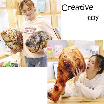 Creative Simulation Food Fish Chicken Leg Stuffed Plush Toy Gift Washable Cushion Throw Decorative Pillow