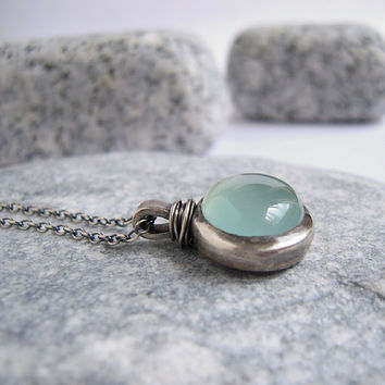 Aqua Chalcedony Pendant Sterling Silver Necklace, Chunky Bezel Cabochon, Rustic Stone Jewelry