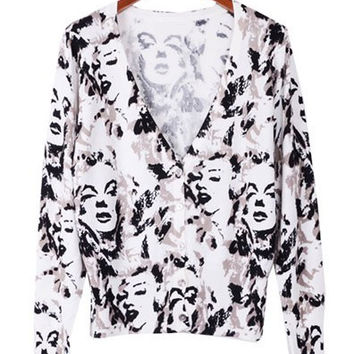 V-Neck Long Sleeve Face Print Cardigan