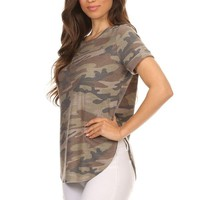 Military Camouflage Printed Short Sleeve Tee Shirt