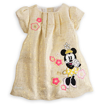 Minnie Mouse Gold Brocade Dress for Baby