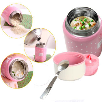 350ml thermos soup container with inox spoon food mugs high quality food vacuum insulated to child lunch termo and office cup