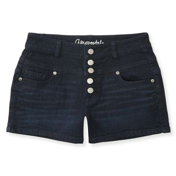 Aeropostale Womens High-Waisted Button Fly Dark Wash Denim Shorty Shorts - Blue,