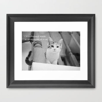 Cat Quote Edgar Allan Poe Framed Art Print by KimberosePhotography